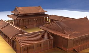 3D chinese house courtyard model