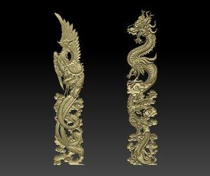3D dragon phoenix