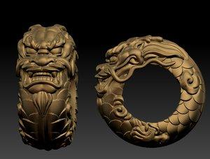 3D dragon ring model