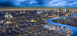 3D city cityscape town