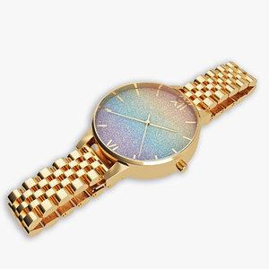 rainbow glitter gold bracelet 3D model