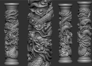 dragon pillar 3D model