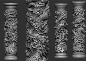 dragon pillar 3D model