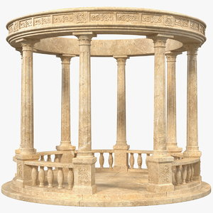 3D stone colonnade model