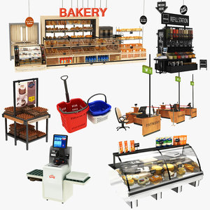 grocery display stand cheese 3D