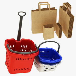 shopping basket paper bag model