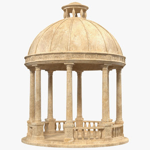 3D outdoor stone garden gazebo