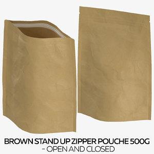 3D brown stand zipper pouche