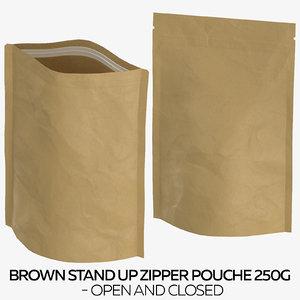 brown stand zipper pouche 3D model