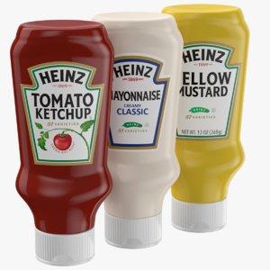 3D sauce set ketchup mayonnaise