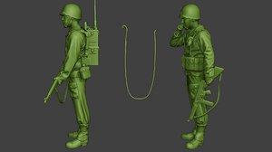 3D model american soldier ww2 engineer