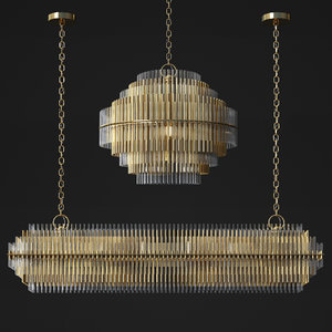 restorationhardware emile linear chandelier 3D