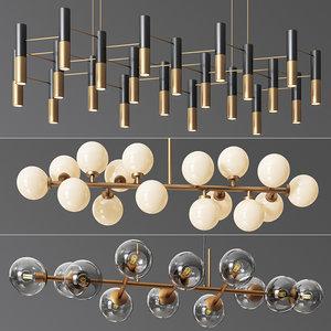 linear suspension chandelier 01 3D