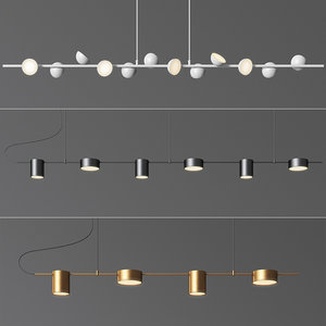linear suspension chandelier 02 3D