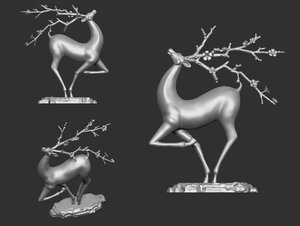 3D sculpture deer