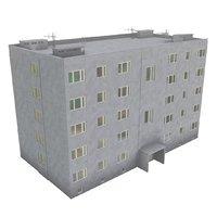 Block of flats 3D model Low Poly Ver