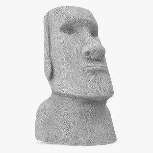 easter island rock moai 3D