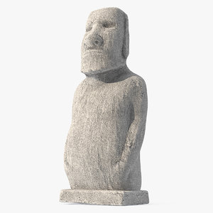 3D moai hoa hakananai white model