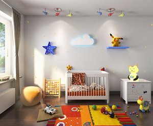 3D scene kids bedroom interior