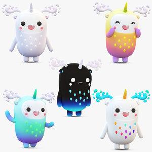 cute cartoon monsters pack model