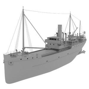 3D old coastal steam ship