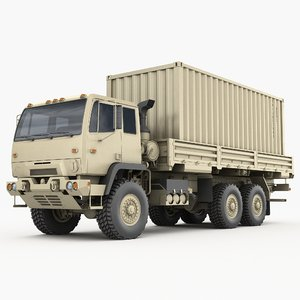 3D m1085 truck transport cargo containers
