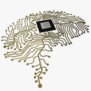 electronic circuit brain 3D