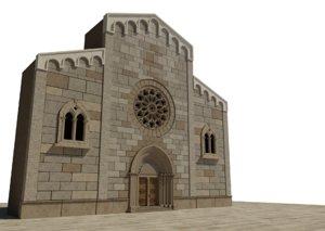 3D medieval church facade model