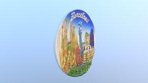 3D barcelona spain magnet souvenir model