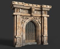 Medieval Wood Door with Stone Arch
