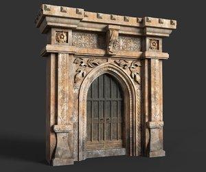 low-poly medieval door 3D model