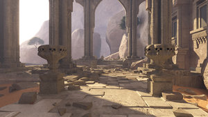 3D ruins ancient temple cave model