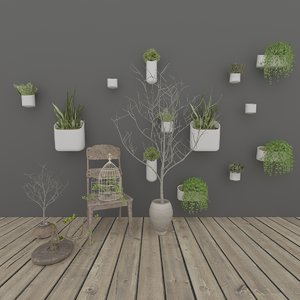 3D model realistic chair potted plants