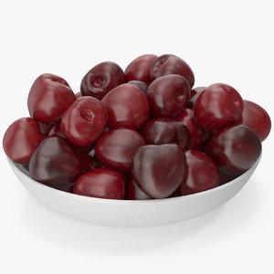 3D sweet cherries plate v