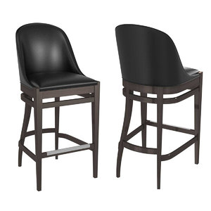 3D barstool seat black dark leather model