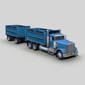 freightliner fld 120 dump truck 3D