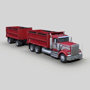 w900 dump truck trailer 3D model