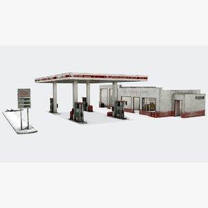 3D model abandoned station gas
