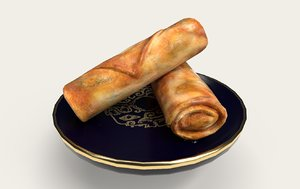 asia food spring rolls 3D model
