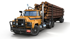 3D mack r log trailer