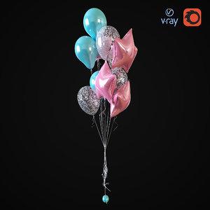 helium balloons 3D model