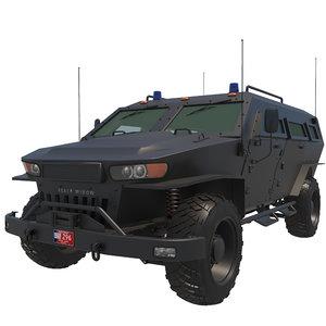 3D black widow armored vehicle model