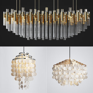 capiz chandelier luxxu waterfall 3D model