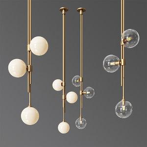 3D articolo lighting trilogy ceiling lamp model