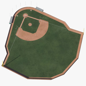 baseball field brick wall 3D model