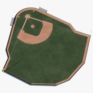 3D baseball field wooden wall model