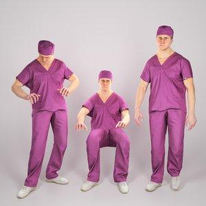 adult man surgeon animation model
