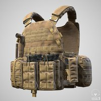 Military Vest Tactical Soldier and Equipment - PBR Game Readylow-poly 3d model