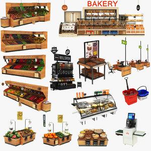 natural food market display stand 3D model