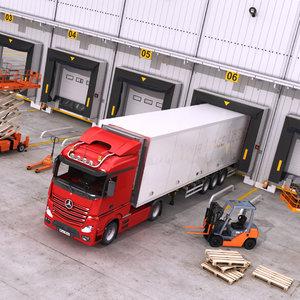 warehouse door vehicles interior exterior 3D model